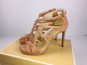 f98adda8564 NIB Michael Kors Sandra Platform Suede Caged Dress Sandals Terra ...