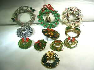 Vtg-11-Christmas-Wreath-Brooches
