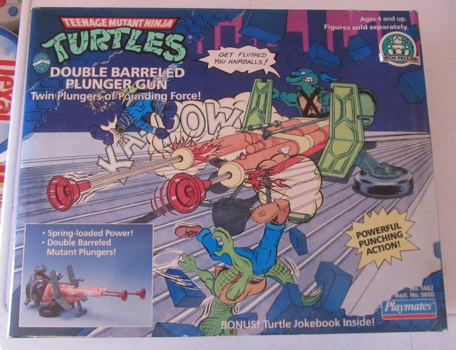 TMNT Ninja Turtles Tartarughe Double Barreled Plunger Gun Playmates Spese Gratis