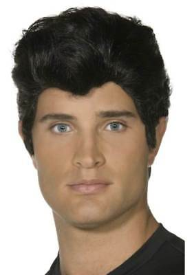 MENS BLACK DANNY WIG FANCY DRESS HAIR COSTUME 1950/'s 50s FROM GREASE TV FILM