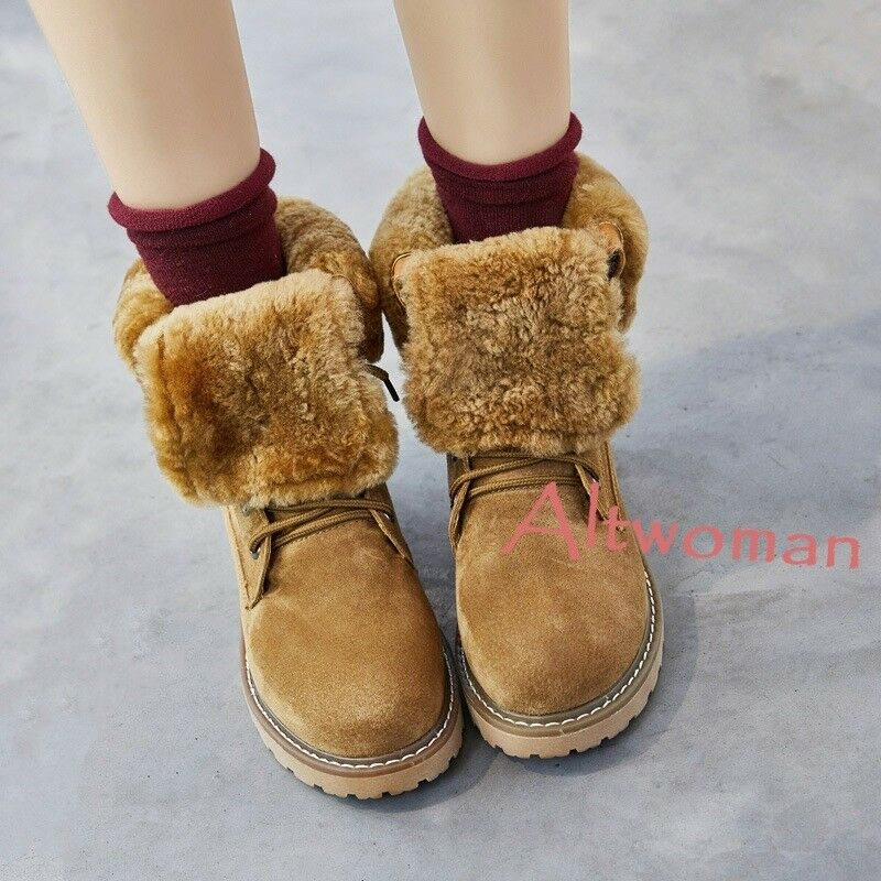Hot Womens Winter Warm Faux Suede Fur Lining High Top Snow Boots Lace Up Shoes