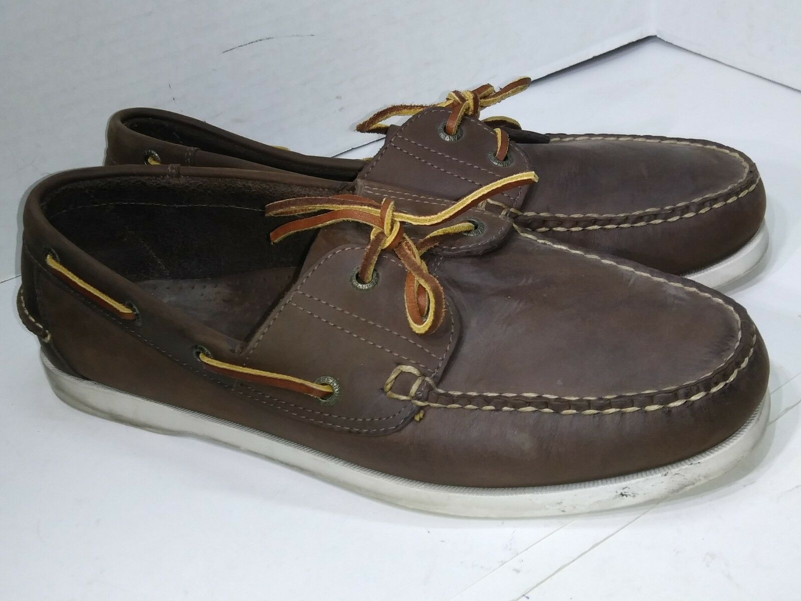 LL Bean Brown Leather Loafers Boat Deck Shoes Slip On Mens Size 11.5 2E EE