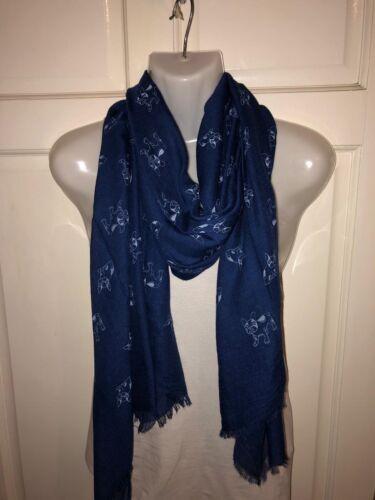 spalla avvolgere Linea Donna Blu Navy Blue Bulldog Stampato Lungo Fahsion coprispalle ha rubato foulard triangolare