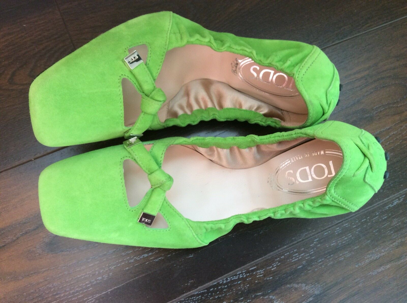 TODS TODS TODS Ballerina Ballet Flats Driving Square Toe Bow Tie Scrunch shoes Size 7.5 4b64ab