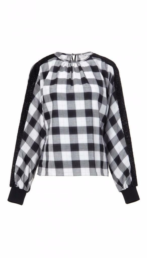 NWT Tibi PLAID TOP WITH LUREX DETAIL