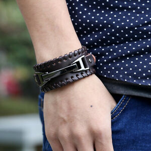 Men-Wide-Leather-Band-Bracelet-Watch-Buckle-Metal-Wristband-Bangle-Black-Brown