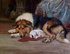 Collie and Little Jack Russell Dog Puppy Dogs Puppies Vintage Poster Art Print