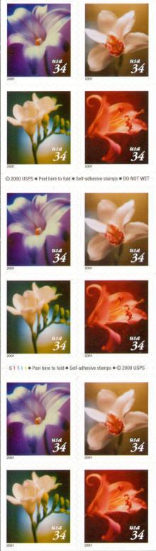 2001 34c Flowers, Booklet of 20 Scott 3487-90 Mint F/VF