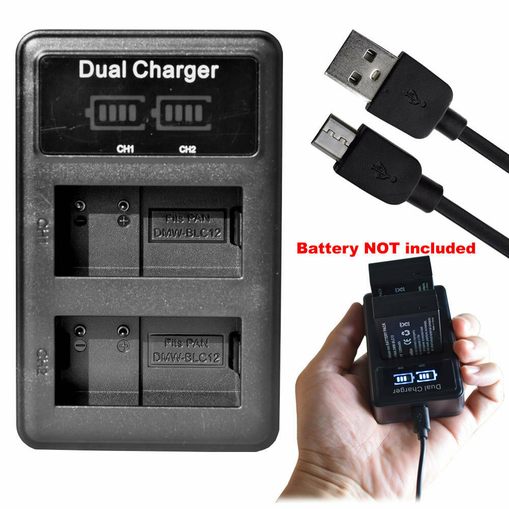 LCD DMW-BLC12 DMW-BLC12E Battery Charger for PANASONIC DMC-G7 DMC-GX6 DMC-G85