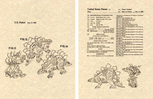 Transformers bouclettes Dinobot G1 brevet Américain Art Imprimé Prêt à encadrer Ohno 1984