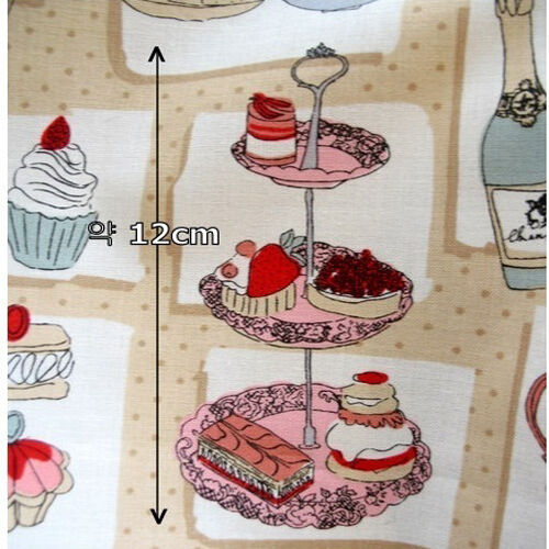 "Cotton Fabric Food//Kitchen Theme Fabric by the Yard 44/"" Wide sh Dessertcafe"