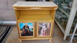 Porta Tv Foglia Oro.Mobile Porta Tv In Legno Avorio Craquet E Foglia Oro