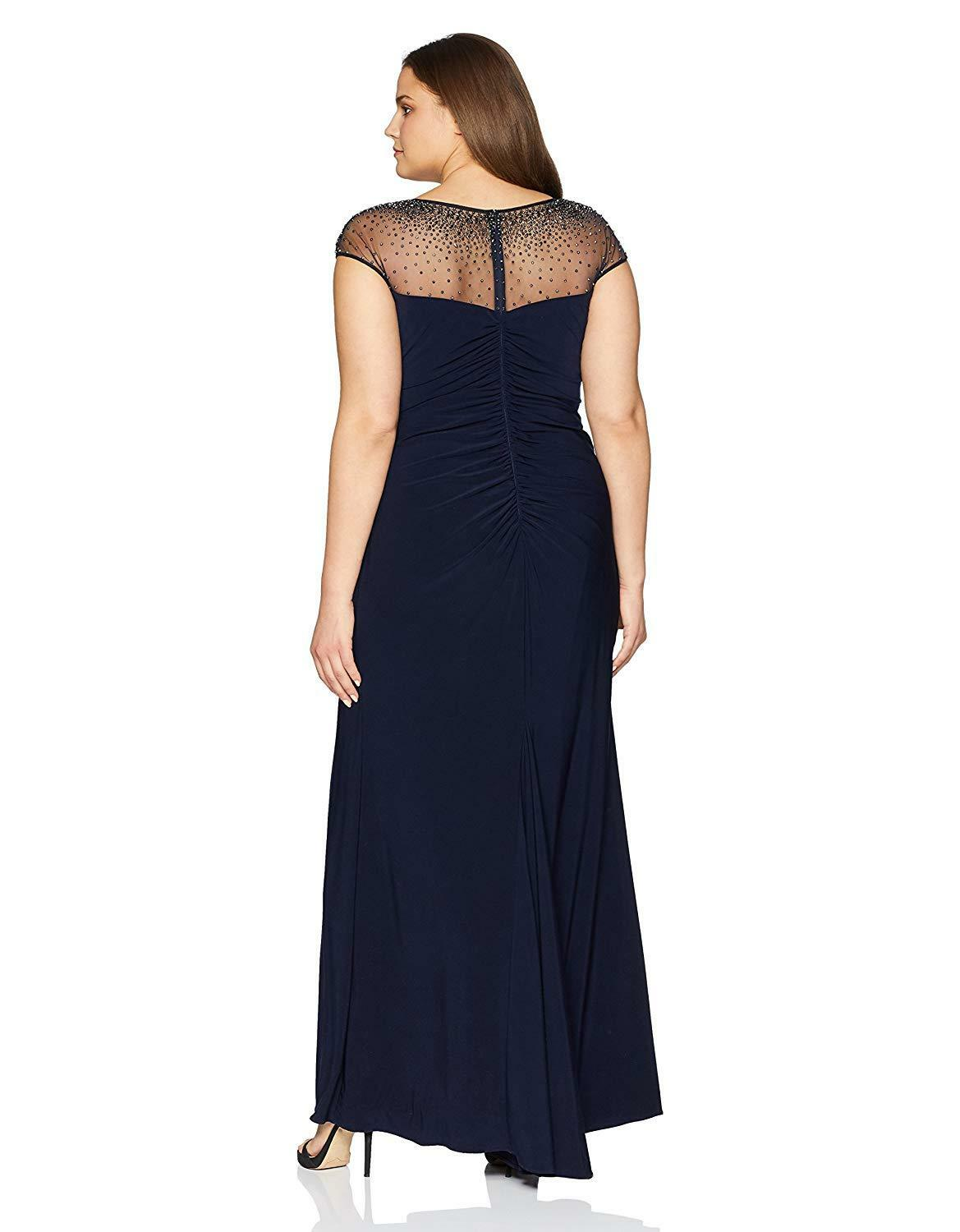 NEW XSCAPE XSCAPE XSCAPE Navy bluee Beaded Mesh Faux Wrap Draped Stretch Ruched Jersey Gown 18W 539834