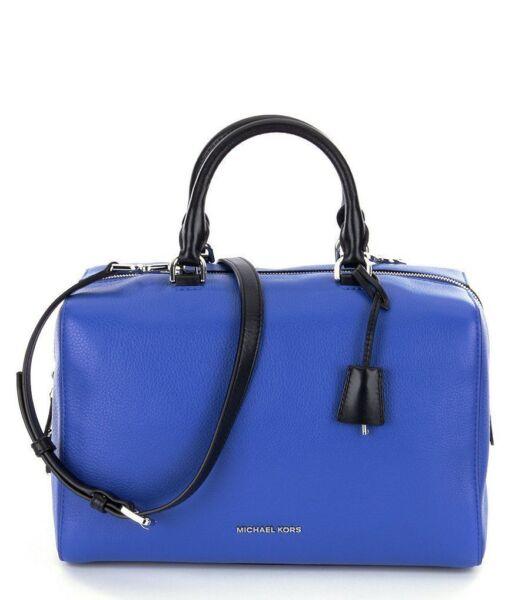Michael Kors Kirby Large Leather Satchel Bag Electric Blue Black for sale  online  c0af9e496ab76