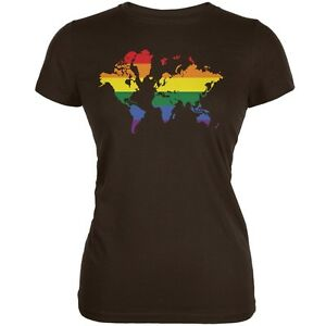 Lgbt rainbow world map brown juniors soft t shirt ebay la imagen se est cargando lgbt rainbow mapamundi marron juniors suave camiseta gumiabroncs