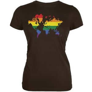 Lgbt rainbow world map brown juniors soft t shirt ebay la imagen se est cargando lgbt rainbow mapamundi marron juniors suave camiseta gumiabroncs Image collections
