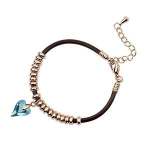 18K-Rose-Gold-Plated-Leather-Genuine-Swarovski-Crystal-Peach-Heart-Bracelet