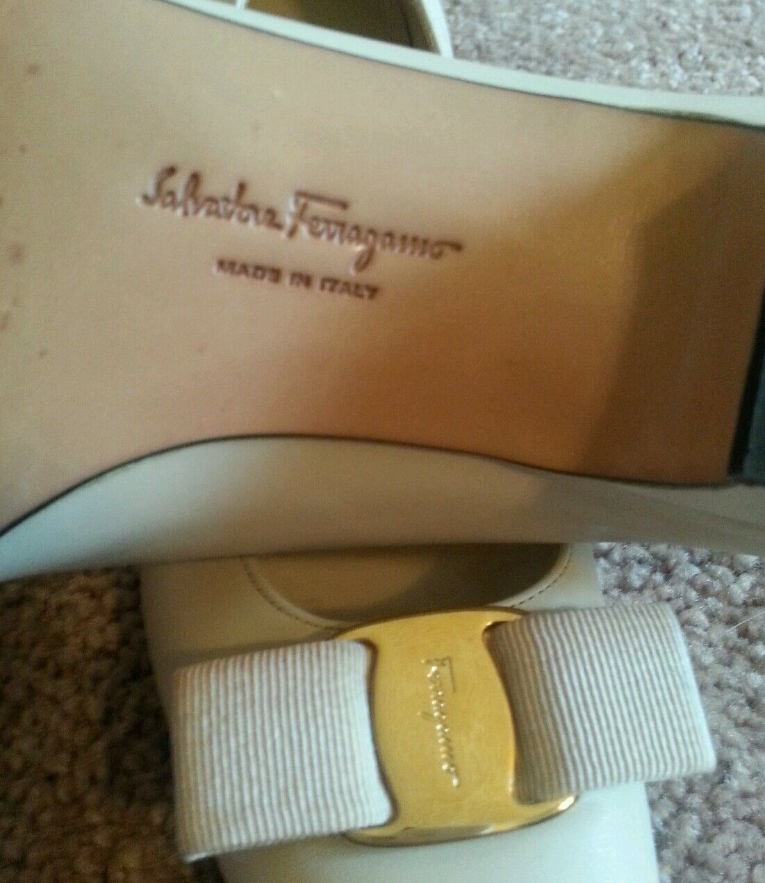 SALVATORE FERRAGAMO Ivory Cream Leather Low Heel VARA Bow Pumps Sz 7AAA