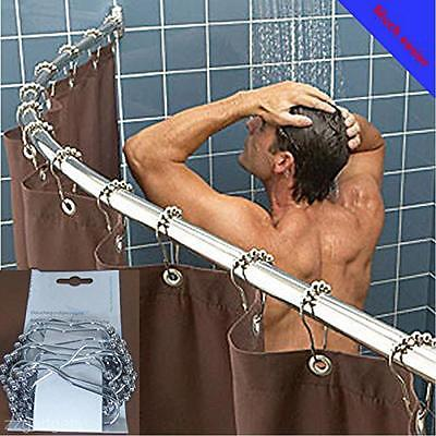 5PCS Bathroom Roller Ball Bath Shower Curtain Rings Hanging Hooks Rod Tools