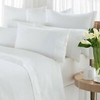 1 White King Flat Sheet White Cotton Rich 108x110 Percale T250 Premium on Sale