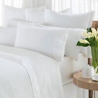 1 White King Flat Sheet White Cotton Rich 108x110 Percale T250 Premium on Sale