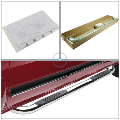 """Chrome Stainless 3/""""Side Step Nerf Bar For 2001-2003 Ford F150 Crew//Supercrew Cab"""