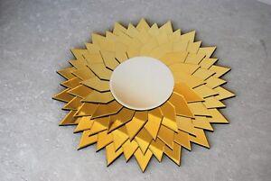 """superbe miroir en glace dorée diamètre 120cm - France - Commentaires du vendeur : """"superbe miroir en parfait etat ,glace dorée diametre 120cm miroir central 47,5cm de diametre"""" - France"""