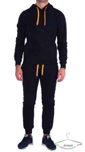 Tuta Completa Uomo Maglia Con Cappuccio Pantalone Sport Felpa Blu AVINOIT