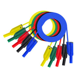5Pcs 4mm Banana Plug Connector Test Probe Lead Cable 1M 14AWG Wire for Multimete