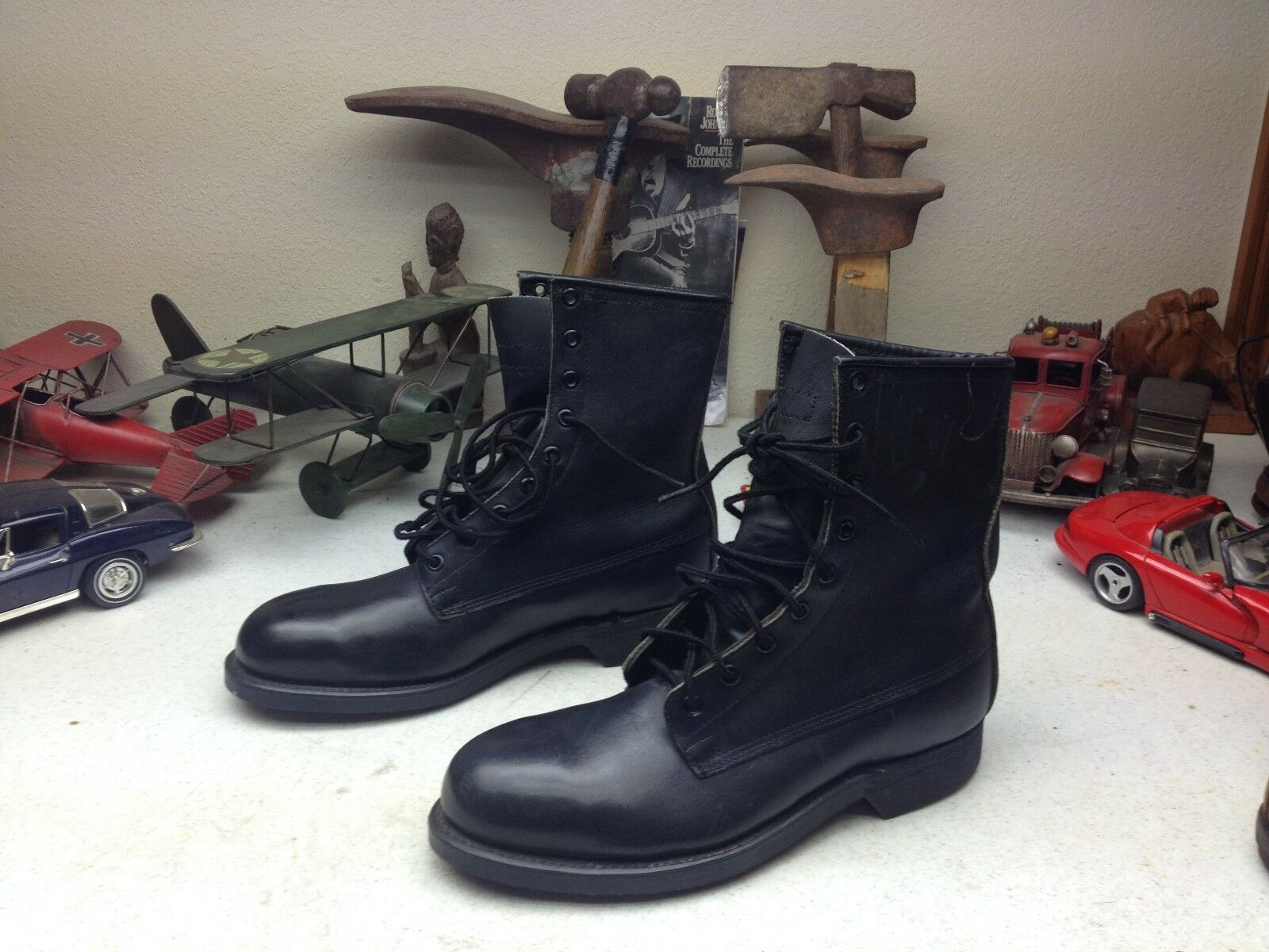1990 ADDISON schwarz schwarz schwarz LEATHER STEEL TOE MILITARY POLICE MOTORCYCLE ROAD Stiefel 6.5 D 5b30fd