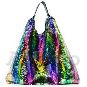 Le-donne-con-Lustrini-Borsetta-a-tracolla-Rainbow-reversibilita-Glitter-Gradiente-CLUTCH-BAG