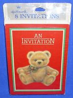 Hallmark Christmas Party Invitations Teddy Bear With Bow Pkg Of 8 Nip