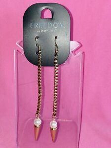 FREEDOM at TOPSHOP pearl bead LONG BOX CHAIN DROP EARRINGS bnoc