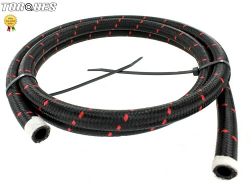 Nylon Braided Red Streaked Stealth Black Hose 1m 10AN AN10 10 AN