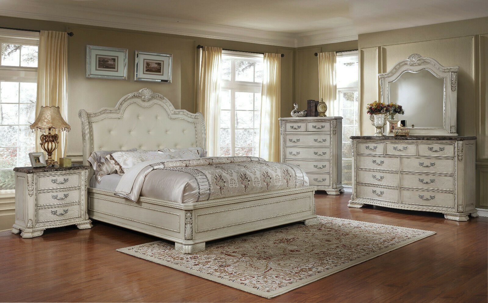 Details about 4 Pc Traditional King Bedroom Set Cream Leather Carved  Accents Marble Tops