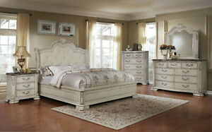 4 Pc Traditional King Bedroom Set Cream Leather Carved Accents