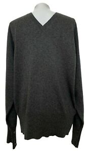 NEW-BROOKS-BROTHERS-BLACK-FLEECE-MEN-039-S-CASHMERE-GRAY-V-NECK-SWEATER-BB4-845