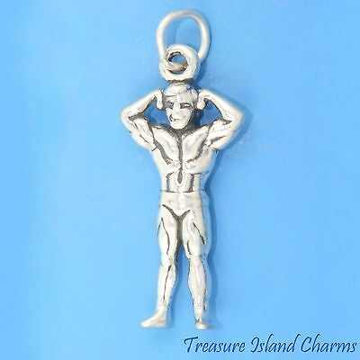 MUSCLE MAN BODYBUILDER FITNESS 3D .925 Solid Sterling Silver Charm