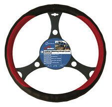 Genuine Sumex Soft Leather Car Steering Wheel Sleeve Cover - Black with Red #52