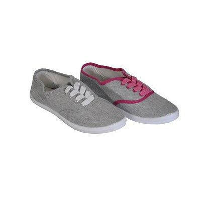 Ladies Grey Lace Up Shoes With Pink Or White Lace