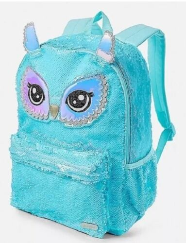 Justice Girls BIG Halo iridescent Owl eyes Flip Sequin Backpack Bookbag NWT NEW