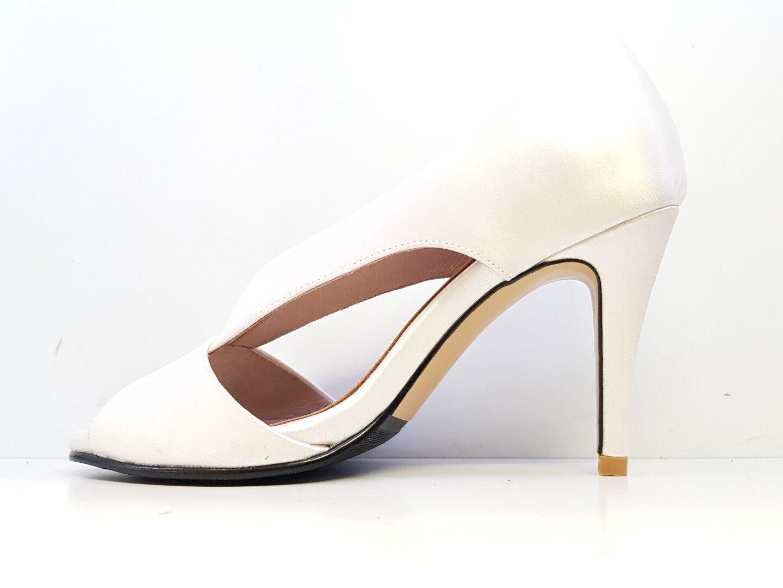 Solely Original Bespoke Satin Peep Toe Heels Ivory Weiß UK SIZE UK Weiß 3 3af015