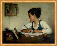 A Girl Writing; The Pet Goldfinch Henriette Browne Vögel Käfig Feder B A2 02262