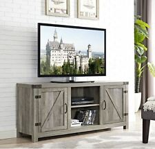 65 Inch TV Stand Rustic Low Profile Media Console Wood Farmhouse Gray