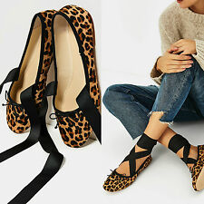 ZARA LEOPARD LACE-UP LEATHER BALLET WITH BOW ANKLE FASTENING EU 35/UK 2/USA 5