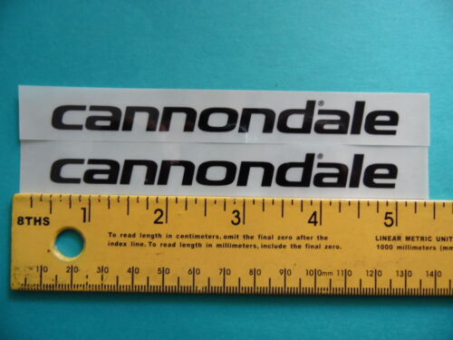 "CANNONDALE 5/"" x 0.75/"" black on clear weather proof sticker 2pcs."