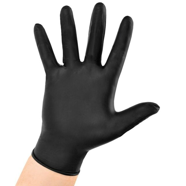 Box Of 100 Large BLACK Nitrile Powder-Free Gloves.-- Free Shipping !