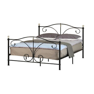 aa7d01f32367 3ft 4ft6 or 5ft Metal Bedstead with Crystal Finials In Black or ...