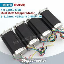 4pc Nema23 112mm 425 Oz In280ncm Dual Shaft Cnc Stepper Motor 3a Stepping Motor