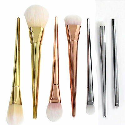 7pc Pro Metal Brush Facial Blush Foundation Cosmetic Makeup Tool